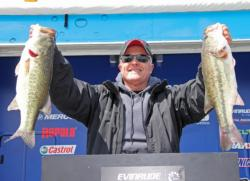 Top co-angler  Randy Hicks caught his fish on spinnerbaits and swim jigs.