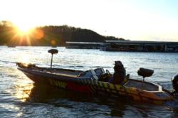 Anglers depart Prairie Creek marina during the start of the 2013 FLW College Fishing National Championship.