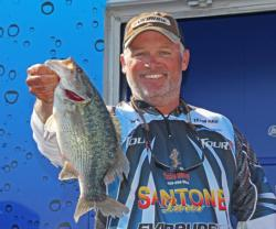 Fourth-place pro  Chris McCall found a chunky spotted bass on Lake Texoma.