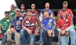 The top-five qualifying teams at the 2013 FLW College Fishing National Championship pose for a quick photo shortly after day-two weigh-in.
