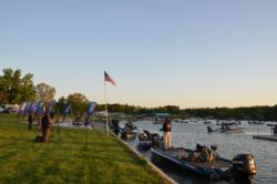 Anglers gather in the cove waiting for their time to blast off.