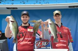 Joseph Zapf and Andrew Zapf of Ramapo College display a few fish from their 12-pound, 14-ounce limit that took home the title at the FLW College Fishing Northern Division event on Smith Mountain Lake.