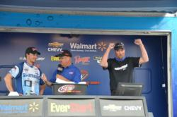 Ron Nelson celebrates as he is announced the winner of the season opener for the EverStart Series Northern Division on Smith Mountain Lake.