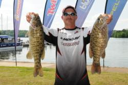 Former EverStart Series Championship winner Chad Aaron of Lawrenceburg, Tenn., is in fifth place with a five-bass limit for 19 pounds, 9 ounces.