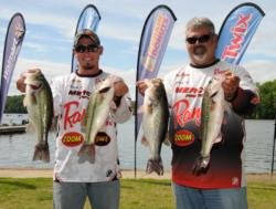 A family tradition: Pro Pete Thliveros and his son Nick Thliveros show off their catch on day two. For the record, Peter T finished 27th on the pro side and Nick is in second place in the Co-angler Division. Let