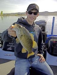 University of Wyoming student Tyler Stingley holds up a nice smallmouth.