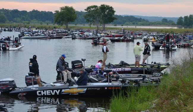 FLW Tour anglers patiently wait for the start of competition on Lake Eufaula.