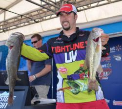 Richard Peek sits second among the co-anglers with a limit weighing 14 pounds, 9 ounces.