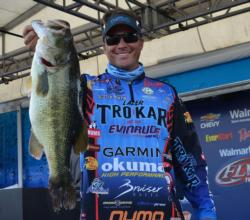 Seventh-place pro Scott Martin holds up a 7-pound, 9-ounce Lake Eufaula largemouth.