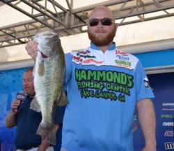 Leading the co-anglers after a tough first day on Eufaula is Jason Johnson of Gainesville, Ga., with a 15-pound, 3-ounce limit.