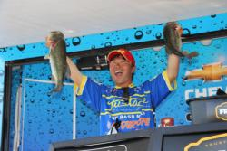 Toshitada Suzuki was all smiles when he displayed two of the fish that led him to second place.