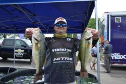 Co-angler Dustin Evans caught 16 pounds, 10 ounces to take third after day one.