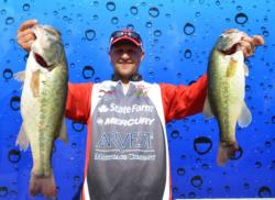 Steven Meador moves into third on the co-angler side thanks to a 18-pound, 2-ounce catch today.