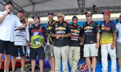 The top-10 finalists at the FLW Tour Grand Lake event share the stage shortly after day-three weigh-in.