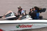 Fifth-place pro qualifier Robbie Dodson gets ready for the start of the final day of tournament action on Grand Lake.