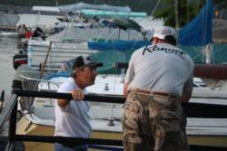 Kentucky Lake pros Billy Schroeder and Ramie Colson Jr. share some dock talk before day-one launch.