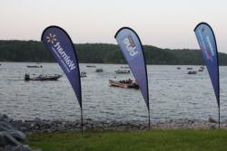 EverStart Central competitors idle at the Kenlake State Park marina before day-one launch.