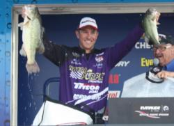No. 2 pro David Gnewikow shows off his two best bass.