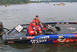 Frosted Flakes pro  Dave Lefebre makes his way through boat check.