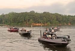 Anglers line up for day-one boat check on the Potomac River.