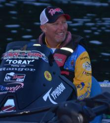 Wesley Strader shares a quick laugh before takeoff.