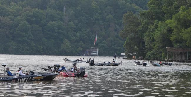 FLW Tour anglers blast off after their boat numbers are called Thursday morning.