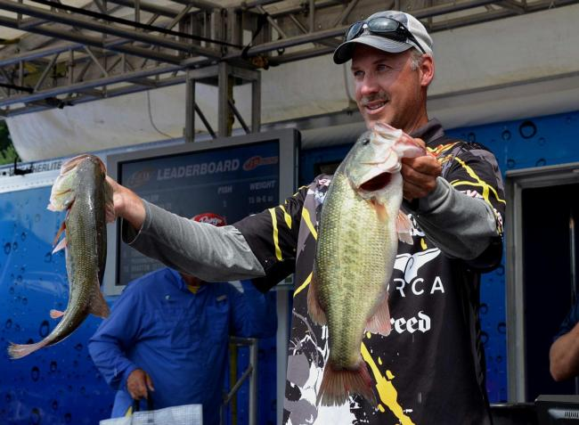 Andy Morgan caught 18 pounds Thursday and put some distance between himself and the other Angler of the Year contenders.