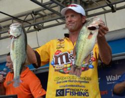 Tenth-place pro Jim Moynagh caught a 20-pound, 2-ounce stringer Thursday.