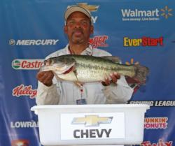 The last angler to weigh on day one, co-angler Ernest Stephens anchored his third-place bag with a 6-pound, 8-ounce bass.