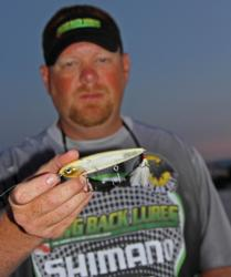Day-one leader Chris Wilkinson will keep a Paycheck Baits Repo Man topwater handy throughout the day.