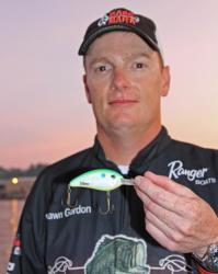 Shawn Gordon, who starts day two in second place, will try to secure his limit on a crankbait and then upgrade by flipping a jig.