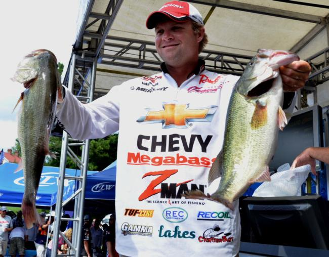 Chevy pro Luke Clausen improved on his day-one weight to catch 20-9 on day two. His two-day total stands at 39-11 and puts him in fourth place.