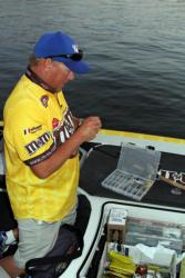 Local angler Kerry Bradley hopes to find the fish he needs over deep structure.