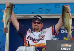 Fourth-place pro Dan Morehead holds up his two kickers from day four on Lake Chickamauga.