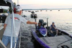 Boaters make their way through the day-1 check-out at Dock Street Landing.