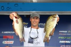 Second-place pro Darrin Schwenkbeck had a mixed bag of smallies and largemouth.