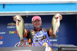 Frosted Flakes pro  Dave Lefebre caught most of his quality fish on a crankbait today.