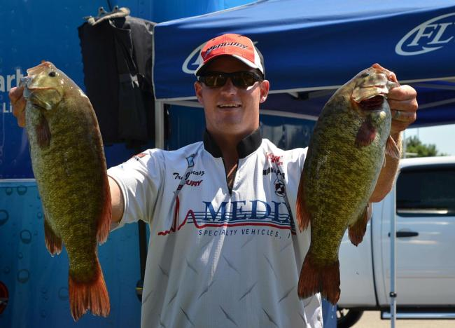 Trevor Jancasz caught 22 pounds, 1 ounce on day one despite battling mechanical issues.