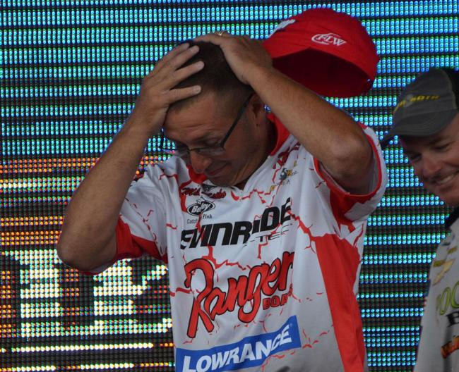 Michael Sitko reacts after learning he won the EverStart Series Central Division event on the Detroit River.