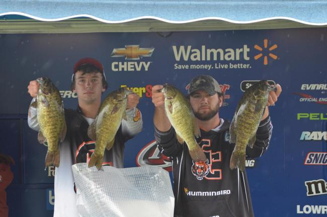 Georgetown College anglers John Hunter and Vincent Timperio hold up their day-one catch.