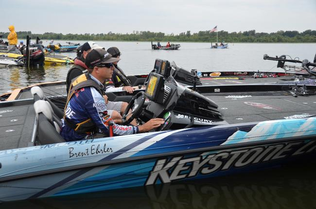Keystone Light pro Brent Ehrler is poised for the day's action on the Red River.