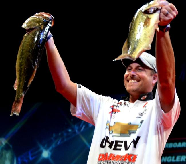 Chevy pro Bryan Thrift of Shelby, N.C., found himself only 1 ounce off the overall lead during the first day of Forrest Wood Cup competition on the Red River.