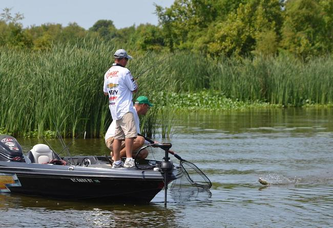 Bryan Thrift speed reels his fifth keeper of day two into the boat.