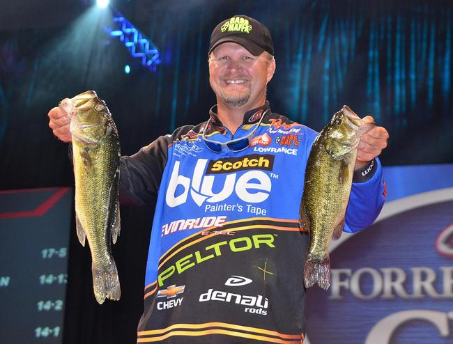 Fourth-place pro Ray Scheide holds up his two biggest bass from day two on the Red River.