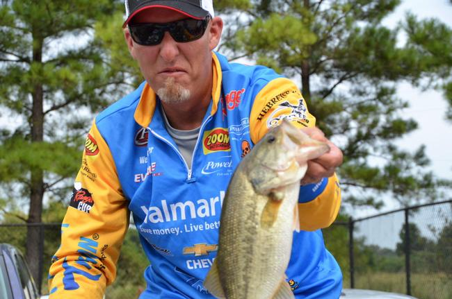Walmart team pro Wesley Strader mugs for the camera en route to a 19th-place finish after the second day of Cup competition.
