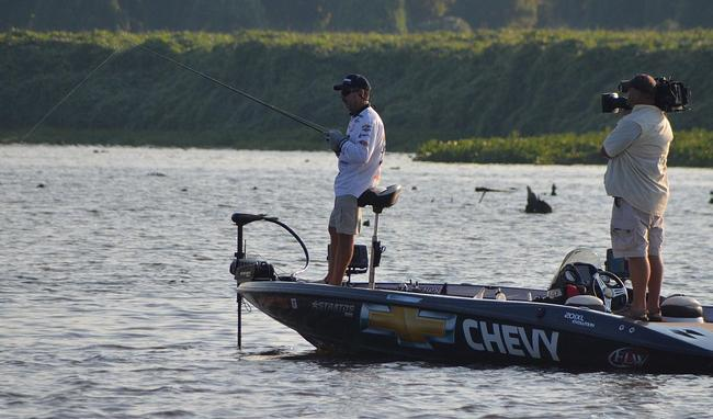 Larry Nixon slowly works his big-fish spot early Saturday morning.