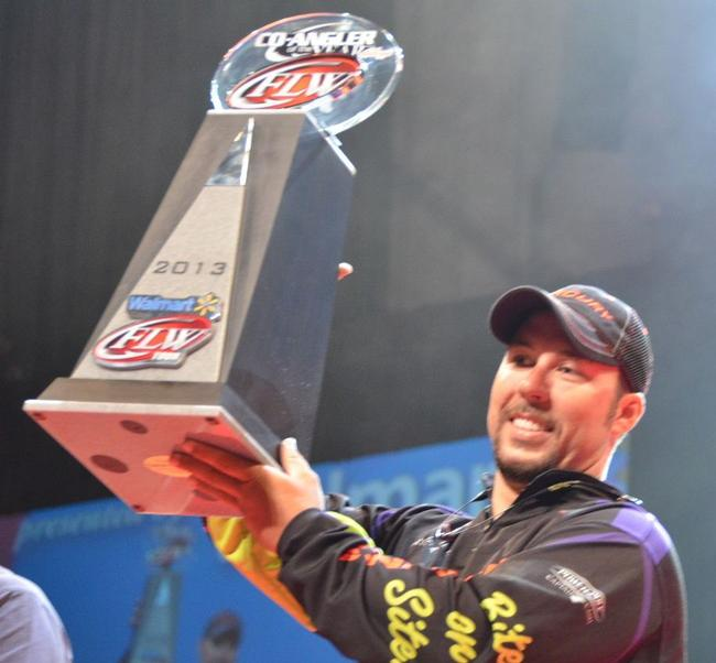 Richard Peek of Centre, Ala., shows off his trophy after winning the 2013 FLW Tour Co-angler of the Year title.