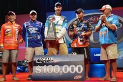 Flanked by Kellogg's team pros Shinichi Fukae (far left), Greg Bohannan (2nd from left), Jim Tutt (far right) and Dave Lefebre (2nd  from right), Andy Morgan displays his 2013 FLW Tour Angler of the Year hardware.