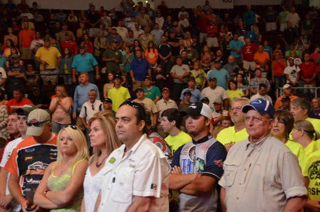 A near-capacity crowd was on hand to witness day-three weigh-in at the 2013 Forrest Wood Cup.