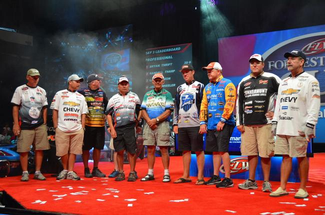 The top-10 pro finalists from the 2013 Forrest Wood Cup acknowledge the crowd.